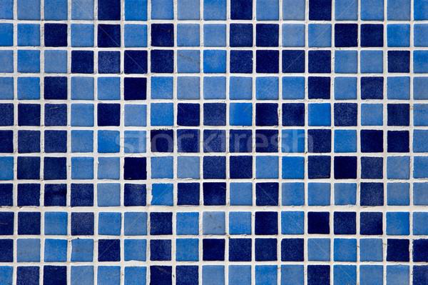 Blu mosaico muro primo piano dettaglio abstract Foto d'archivio © boggy
