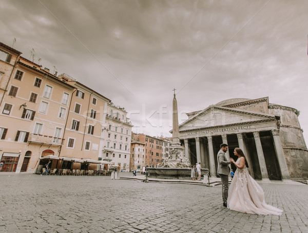Young wedding couple by the Pantheon in Rome, Italy Stock photo © boggy