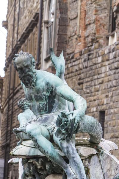 Szökőkút Florence részlet épület férfi város Stock fotó © boggy