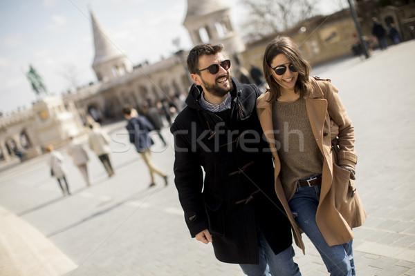 Loving couple walking in Budapest, Hungary Stock photo © boggy