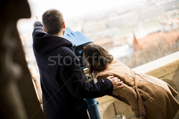 любящий пару исторический Будапешт Венгрия любви Сток-фото © boggy