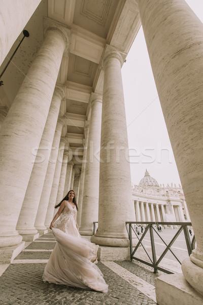 Bella giovani sposa abito da sposa vaticano sorriso Foto d'archivio © boggy
