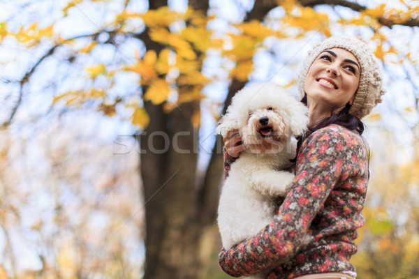Young woman with a dog Stock photo © boggy