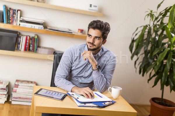 Freelancer bureau jonge verslag business koffie Stockfoto © boggy