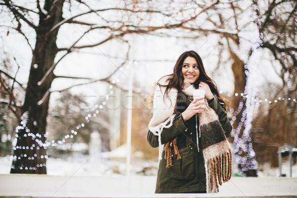 Mutlu kadın fincan sıcak içecek soğuk kış Stok fotoğraf © boggy