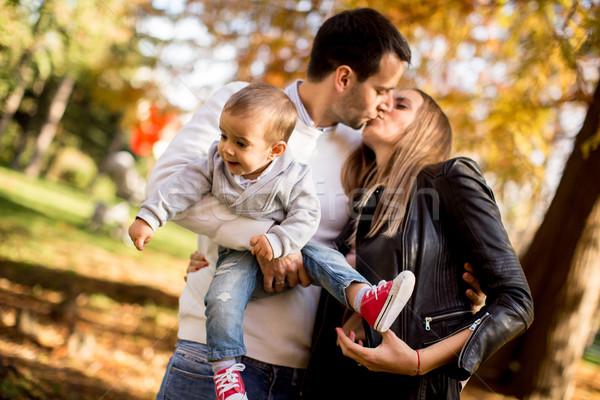 幸せ 小さな 両親 赤ちゃん 少年 秋 ストックフォト © boggy