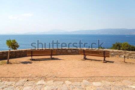 Seaside viewpoint on Hydra island in Greece Stock photo © boggy