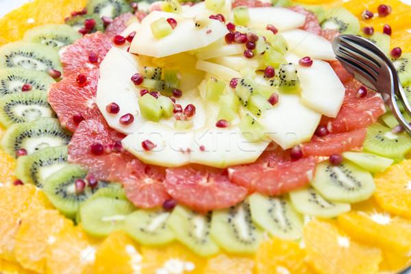 Vruchtensalade plaat voedsel achtergrond Stockfoto © boggy
