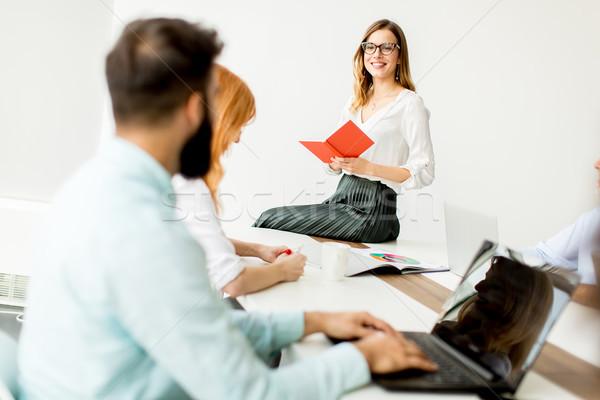 Pessoas de negócios escritório mulher livro reunião Foto stock © boggy