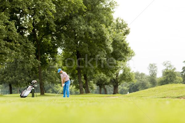 гольфист играет красивой гольф молодым человеком гольф Сток-фото © boggy