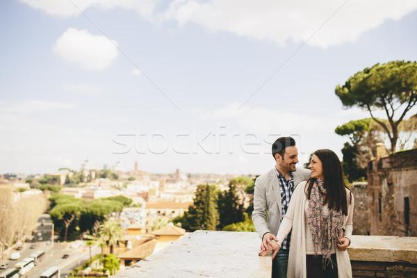 Kochający para Rzym Włochy młodych Europie Zdjęcia stock © boggy