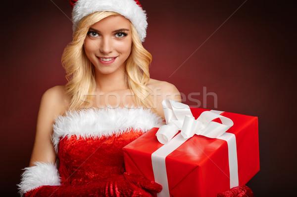 Güzel kız hediye noel baba elbise kız Stok fotoğraf © bogumil