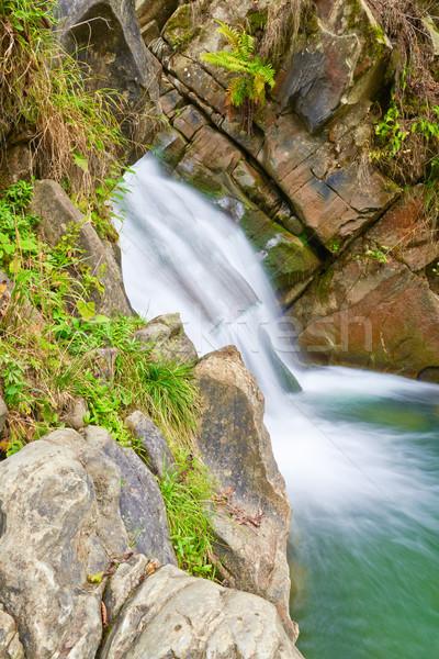 Stock photo: The Zaskalnik Waterfall. Natural source of water.