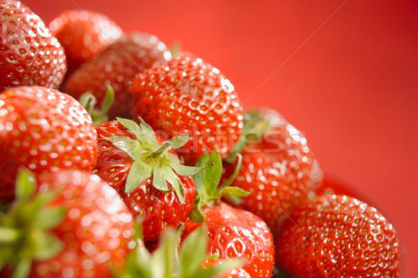 Sıcak çilek yatay gıda bahçe arka plan Stok fotoğraf © bogumil