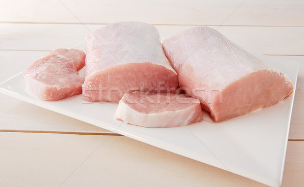 Raw pork chop on a plate  Stock photo © bogumil