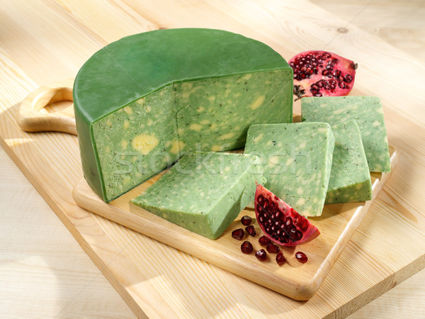 Stock photo: Green-yellow Sage Derby Cheese