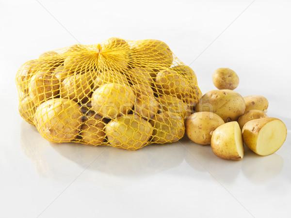 Foto d'archivio: Fresche · patate · bianco · alimentare · sfondo