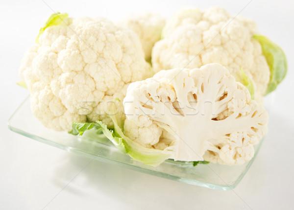 Chou-fleur verre plaque blanche fond manger Photo stock © bogumil