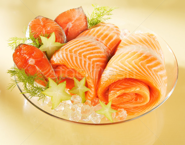 Stock photo: Norwegian salmon on a plate