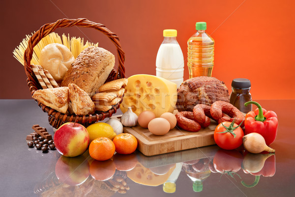 Minden nap étel szett sok hozzávalók ízletes Stock fotó © bogumil