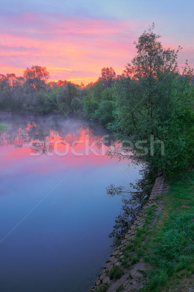 Warm pink sky over the Narew river, Poland. Stock photo © bogumil