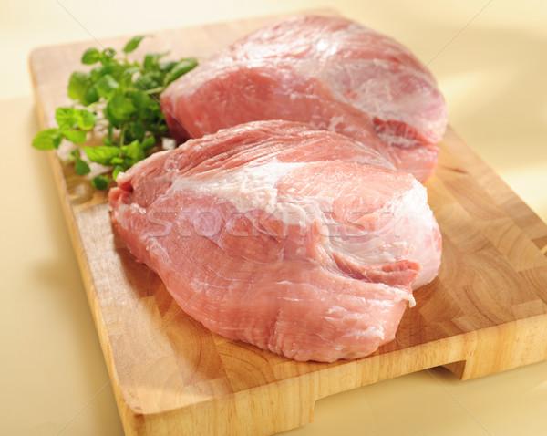 Domuz eti omuz ahşap Stok fotoğraf © bogumil