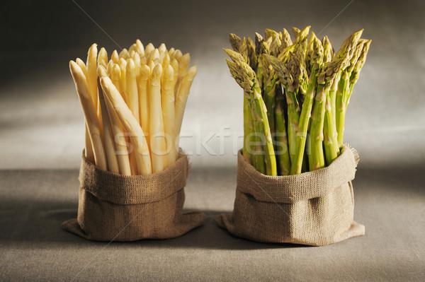 Bianco verde asparagi panno borse tela Foto d'archivio © bogumil