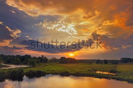 Foto d'archivio: Bella · primavera · sunrise · drammatico · nubi · cielo