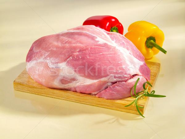 Raw boneless shoulder square cut on a cutting board. Stock photo © bogumil