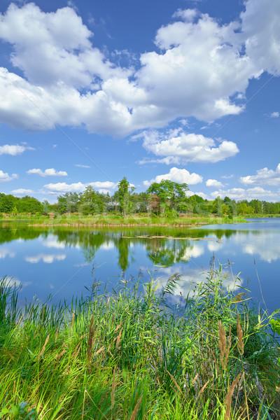Printemps été paysage ciel bleu nuages rivière Photo stock © bogumil
