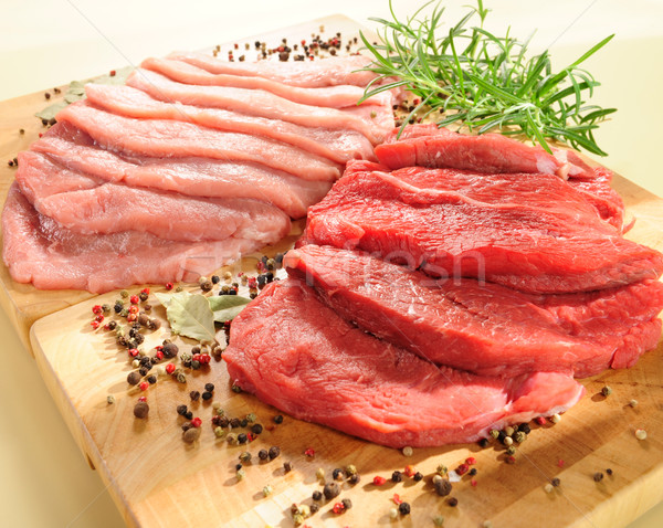 Raw pork chop and steaks for barbecue  Stock photo © bogumil