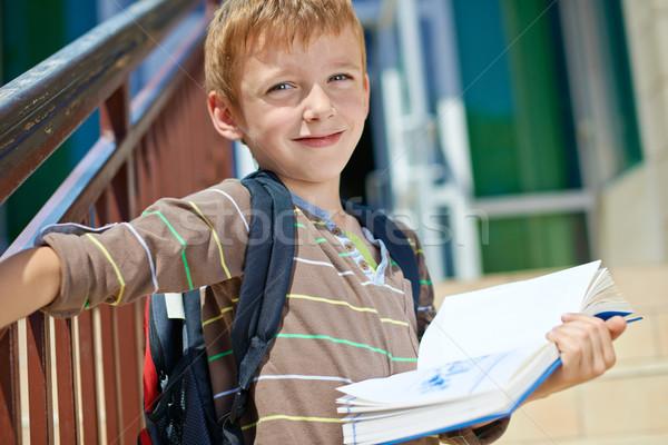 小さな 男子生徒 図書 子供 学校 建物 ストックフォト © bogumil