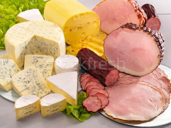 チーズ ハム ソーセージ 表 食品 青 ストックフォト © bogumil