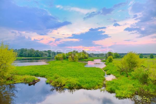 Belle matin paysage bateau visible rivière Photo stock © bogumil