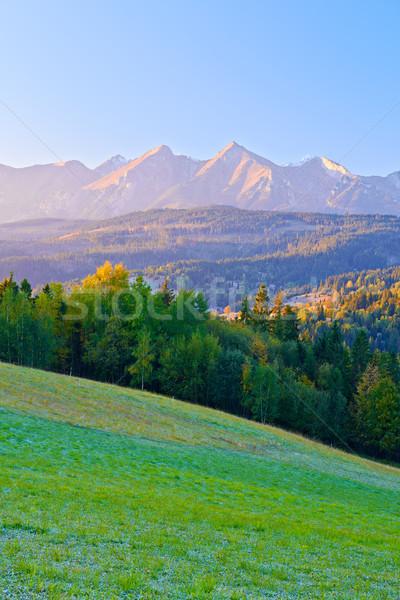 şafak yüksek dağlar Polonya görmek gökyüzü Stok fotoğraf © bogumil