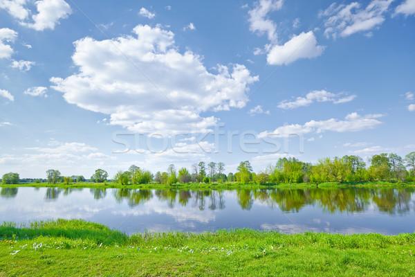 Ensolarado primavera paisagem rio nuvens blue sky Foto stock © bogumil