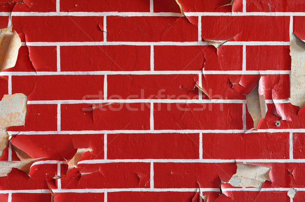 Old wall with flaky paint. Pattern of bricks. Stock photo © bogumil