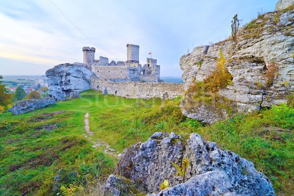 Old medieval castle on rocks. Ogrodzieniec, Poland. Stock photo © bogumil