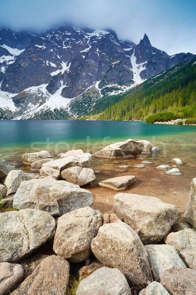 Tatra Mountains scenery stones lake beautiful nature Carpathians Stock photo © bogumil