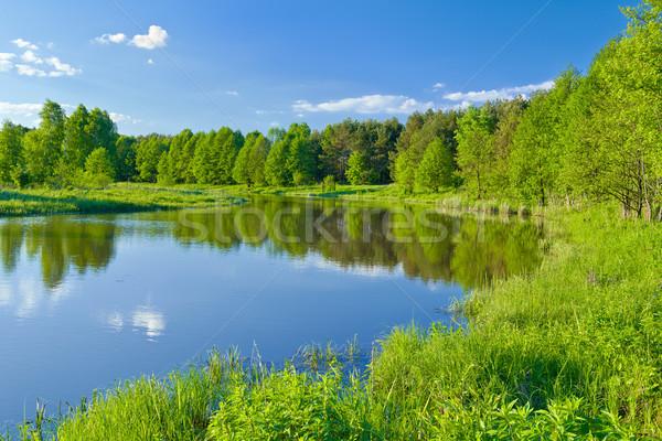 Son manzara nehir su ağaç Stok fotoğraf © bogumil