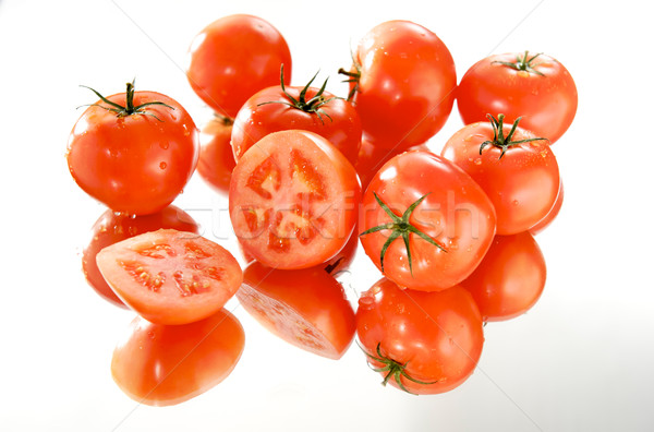 Tomates blanche miroir dîner marché salade Photo stock © bogumil