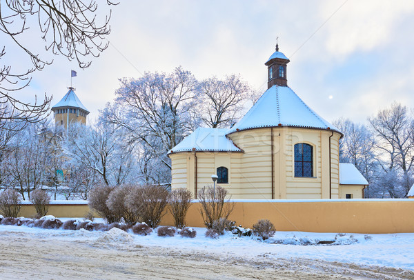 Old chapel and castle. Winter landscape. Stock photo © bogumil