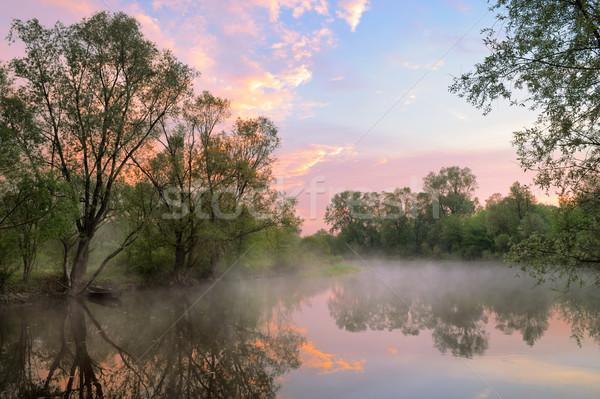 Dente quente céu rio Polônia manhã Foto stock © bogumil