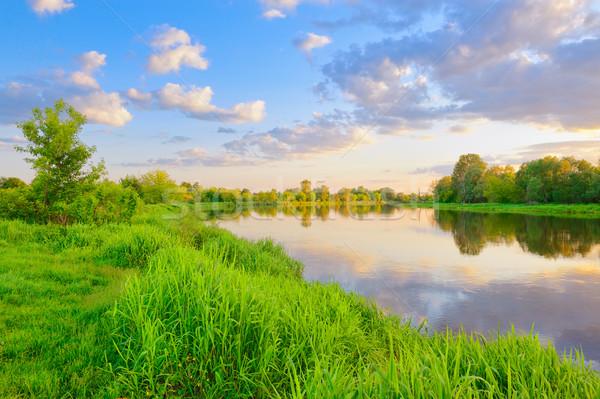 Zdjęcia stock: Wieczór · rzeki · Polska · piękna · krajobraz · niebo
