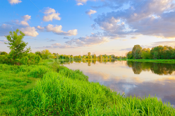 Akşam nehir Polonya güzel manzara gökyüzü Stok fotoğraf © bogumil