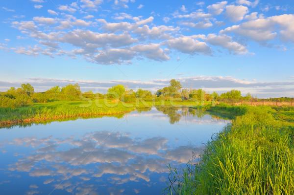 Nehir bulutlar gökyüzü bahar manzara Stok fotoğraf © bogumil