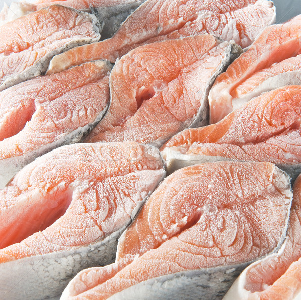 Bevroren zalm arrangement veel ruw water Stockfoto © bogumil