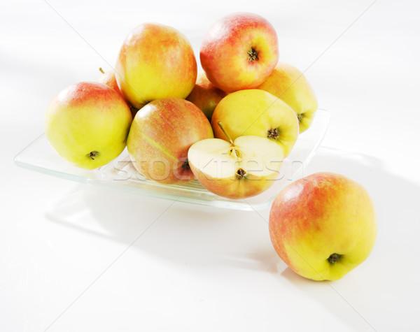 Pommes plaque verre vert rouge fruits Photo stock © bogumil