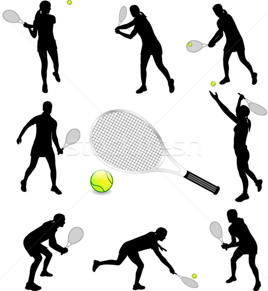 female tennis players silhouettes Stock photo © bokica