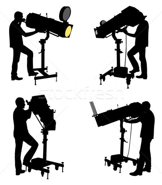 follow spot operator silhouettes Stock photo © bokica